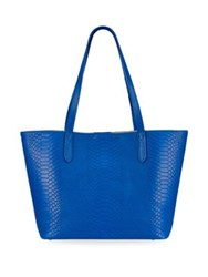 Gigi New York Teddie Python Embossed Leather Tote Bag Cobalt
