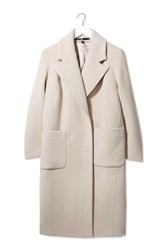 Textured Melton Coat By Boutique Cream