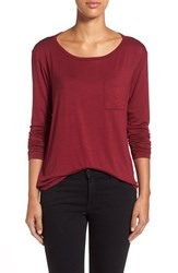 Women's Cj By Cookie Johnson Long Sleeve Pocket Tee Burgundy