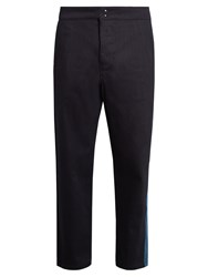 Raf Simons Contrast Panel Wide Leg Jeans Dark Navy