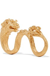 Valentino Dog Gold Plated Three Finger Ring One Size