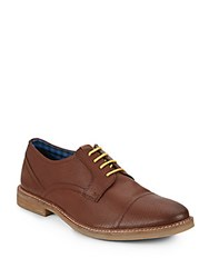 Ben Sherman Leon Perforated Leather Oxfords Tan