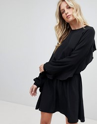 Ivyrevel Mini Skater Dress With Open Back And Frill Detail Black