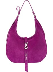 Miu Miu Suede Hobo Bag Purple