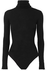 Unravel Project Distressed Ribbed Wool And Cashmere Blend Turtleneck Bodysuit Black
