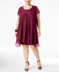 Ny Collection Plus Size Layered Shift Dress Purple