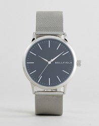 Bellfield Silver Watch With Round Black Dial