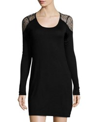 Lamade Lace Shoulder Scoop Neck Dress Black