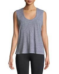 Lanston Sleeveless Lace Up Cutout Tank Top Gray