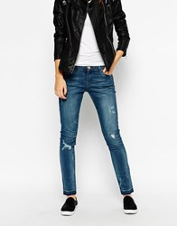 Blank Nyc Distressed Skinny Jeans With Raw Hem Bluedenim