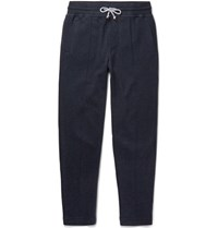 Brunello Cucinelli Sli Fit Cotton Blend Jersey Sweatpants Navy