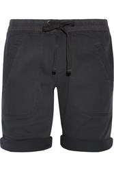 James Perse Stretch Cotton And Modal Blend Twill Shorts Charcoal