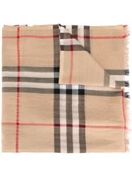 Burberry Metallic Check Silk And Wool Scarf Multicolour