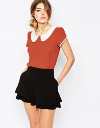 Traffic People Top With Contrast Collar Orange