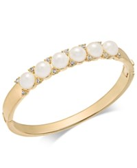 Charter Club Gold Tone Pave And Imitation Pearl Hinged Bangle Bracelet Created For Macy's