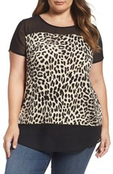 Vince Camuto Plus Size Women's Leopard Song Mixed Media Top Antique White