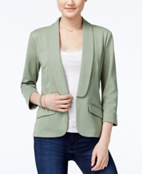 Say What Juniors' Shawl Collar Knit Blazer Sage