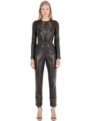 Elie Saab Lace And Nappa Leather Jumpsuit