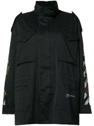 Off White Embroidered Feature Raincoat Black