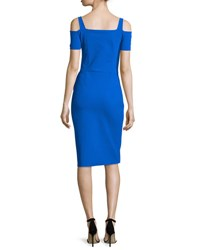 La Petite Robe Di Chiara Boni Julia Cold Shoulder Ruched Cocktail Sheath Dress Blue Klein
