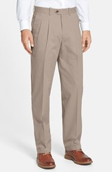Men's Big And Tall John W. Nordstrom Smartcare Pleated Supima Cotton Pants Taupe