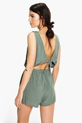 Boohoo Tie Back Relaxed Fit Playsuit Khaki