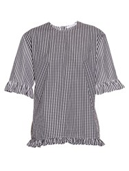 J.W.Anderson Gingham Ruffled Cotton Top Black White