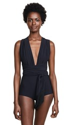 Michael Kors Collection Shirred Wrap Belted One Piece Black