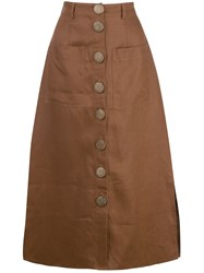 Nicholas Stitched Panel Skirt Brown