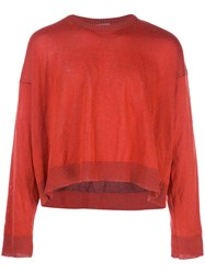 Lanvin Cropped Slouchy Sweater Red