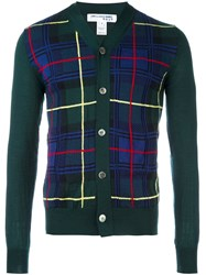 Comme Des Garcons Shirt Boy Plaid Cardigan Green