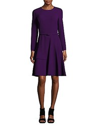 Oscar De La Renta Long Sleeve Wool Dress Aubergine