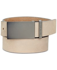 Calvin Klein 38Mm Flat Strap Leather Belt Stone