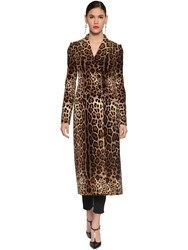Dolce And Gabbana Printed Stretch Velvet Long Coat Leopard