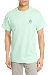 The Rail Men's Crewneck T Shirt With Embroidery Green Mint Hatched