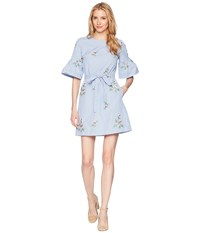 Donna Morgan Embroidered Cotton Dress With Short Bell Sleeve And Self Tie Belt Blue White Stripe Navy