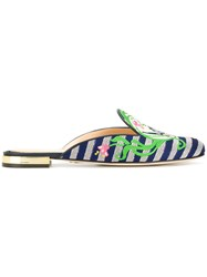 Charlotte Olympia Armour Mules Blue