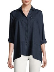 Jones New York Flounce Hem Shirt Ceramic Blue