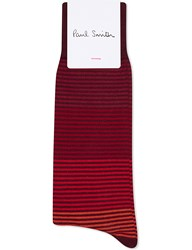 Paul Smith Striped Cotton Socks Red