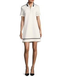 Piazza Sempione Collared Short Sleeve Neoprene Dress With Piping Ivory