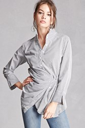 Forever 21 Ruched Stripe Button Front Shirt Black White