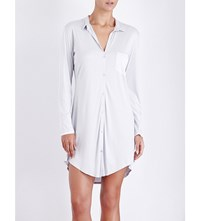 Hanro Long Sleeved Jersey And Stretch Silk Nightshirt Silver