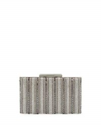 Neiman Marcus Crystal Stripe Evening Clutch Bag Silver