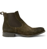 O'keeffe Bristol Burnished Suede Chelsea Boots Dark Green