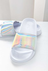 Urban Outfitters Uo Holographic Pool Slide Silver