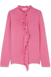 Etro Ruffle Trimmed Silk Crepe De Chine Blouse Pink