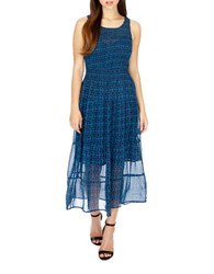 Lucky Brand Georgette Smocked Dress Blue