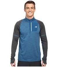 New Balance Performance Merino Half Zip Deep Water Heather Multi Heather Charcoal Men's Long Sleeve Pullover Blue