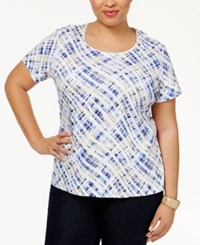Karen Scott Plus Size Printed T Shirt Only At Macy's Orchid Blue Combo