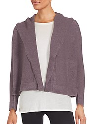 Inhabit Cropped And Hooded Open Front Cashmere Cardigan Shadow